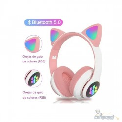 Fones De Ouvido Gatinha Bluetooth 5.0 Baixo Ruído Headseat Rosa
